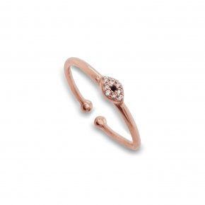 Ring silver 925 Pink plated with white zirconia - Simply Me