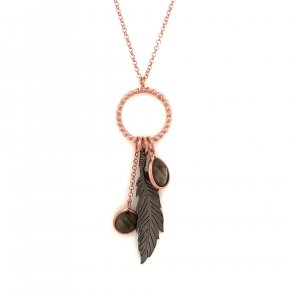 Necklace silver 925 pink gold plated with black rodium plated - WANNA GLOW