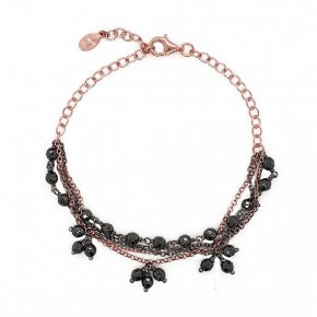 Bracelet silver 925 pink gold plated with black rhodium plated - WANNA GLOW