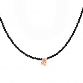 Necklace in silver 925 pink gold plated with white zirconia and onyx - Simply Me