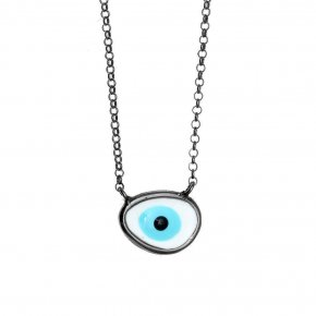 Necklace silver 925 black rhodium plated & with enamel evil eye - Wish Luck