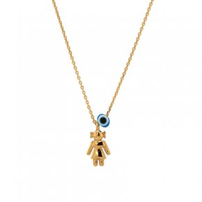 Necklace silver 925 yellow gold plated & with evil eye - Wish Luck