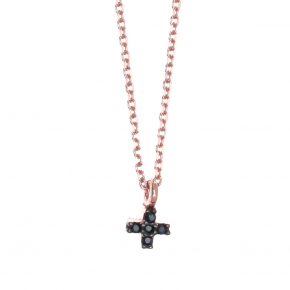 Necklace silver 925 pink gold plated with black zirconia - Simply Me