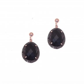 Earrings silver 925 pink gold plated with onyx and black zirconia - Color Me