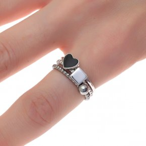 Ring silver 925 two tone rhodium plated with enamel - Simply Me