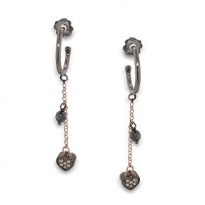 Earrings silver 925 Pink gold plated with black rhodium - WANNA GLOW