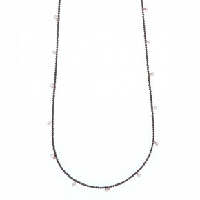 Necklace silver 925 pink gold plated & with onyx and white zirconia - Color Me