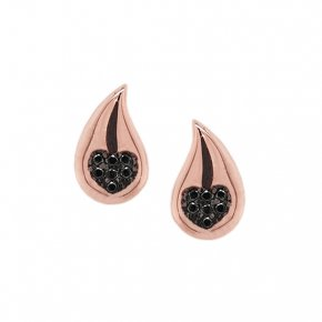 Earrings silver 925 pink gold plated with black zirconia - WANNA GLOW