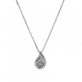 Necklace silver 925 rhodium plated with white zirconia - WANNA GLOW