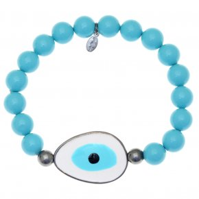 Bracelet silver 925 black rhodium plated & with enamel evil eye - Wish Luck