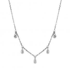 Necklace silver 925 rhodium plated with white zirconia - Simply Me