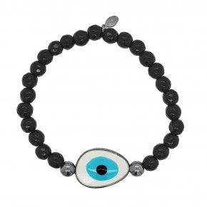 Bracelet silver 925 black gold plated & with enamel evil eye - Wish Luck