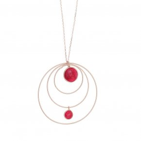 Necklace silver 925 pink gold plated & with treated ruby - Color Me