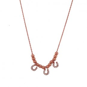 Necklace silver 925 pink gold plated with white zirconia - Simply Me