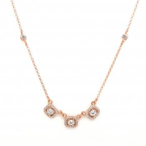 Necklace silver 925 Pink gold plated with wtite zirconia - Simply Me