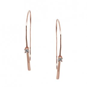 Earrings silver 925 pink gold plated & with white zirconia - WANNA GLOW