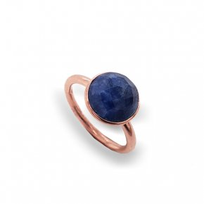 Ring silver 925 pink gold plated with sapphire - Color Me