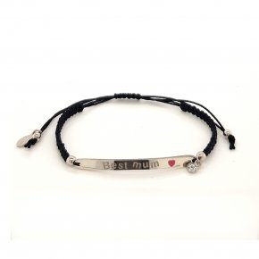 Bracelet silver 925 rhodium plated with enamel and cord (best mum) - Wish Luck