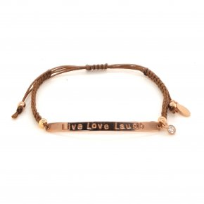 Bracelet silver 925 pink gold plated with enamel and cord (Live Love Laugh) - Wish Luck