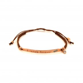 Bracelet silver 925 pink gold plated with enamel and cord (Friends Forever) - Wish Luck