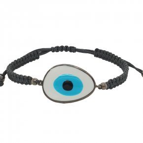 Bracelet silver 925 black gold plated & with enamel evil eye and cord - Wish Luck