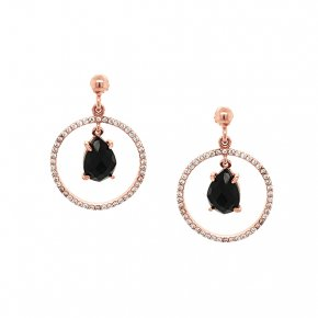 Earrings silver 925 pink gold plated & with onyx and white zirconia - Color Me