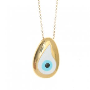 Necklace silver 925 yellow gold plated & with enamel evil eye (2,8 cm x 1,7 cm) - Wish Luck