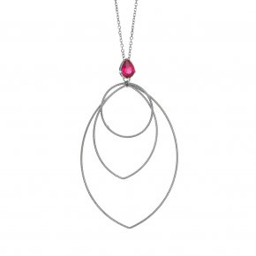 Necklace silver 925 black rhodium plated with red zirconia - Funky Metal