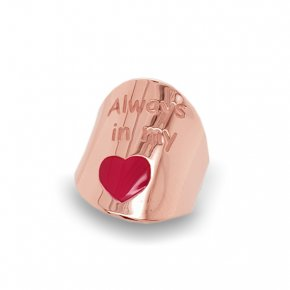 Ring Silver 925 pink gold plated with enamel - Wish Luck