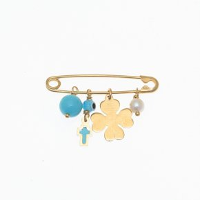 Pin in silver 925 yellow gold plated with hanging charms - Wish Luck