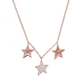 Necklace silver 925 pink gold plated & with white zirconia - WANNA GLOW