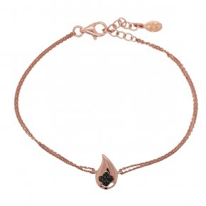Bracelet silver 925 pink gold plated with black zirconia - WANNA GLOW