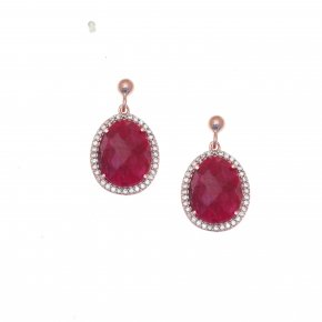 Earrings silver 925 pink gold plated & with treated ruby and white zirconia - Color Me