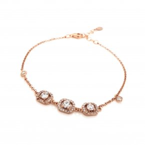 Bracelet silver 925 pink gold plated with tyrqoise zirconia - Simply Me