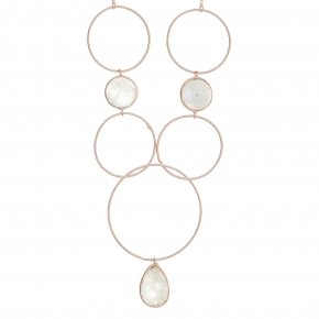 Necklace silver 925 pink gold plated & with moonstone - Color Me