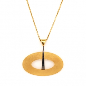 Necklace silver 925 yellow gold plated with black rhodium plating - Funky Metal