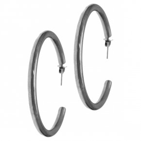 Earrings in silver 925 black rhodium plated (diameter 3.2 cm, 0.3 cm thick) - Funky Metal