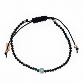 Bracelet silver 925 rose gold plated with enamel evil eye and cord - Wish Luck