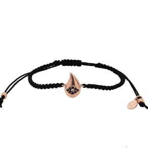 Bracelet silver 925 pink gold plated with cord and black zirconia - WANNA GLOW