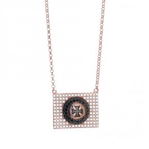 Necklace silver 925 pink gold plated with black rodium plated and white-black zirconia - WANNA GLOW
