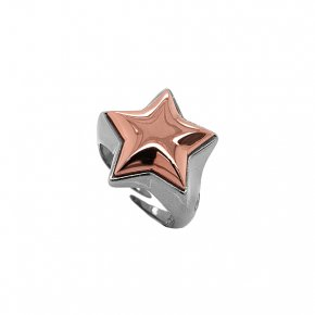 Ring silver 925 rhodium plated with pink gold plated - Funky Metal