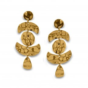 Earrings silver 925 yellow gold  plated (5cm) - Funky Metal