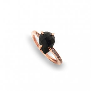 Ring silver 925 pink gold plated & with onyx and white zirconia - Color Me