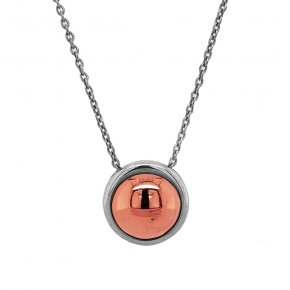 Necklace silver 925 rhodium plated with pink gold plated - Funky Metal