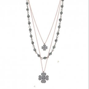Necklace silver 925 pink gold plated with black rhodium plated and white zirconia - WANNA GLOW