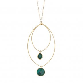 Necklace silver 925 yellow gold plated & with treated emerald - Color Me