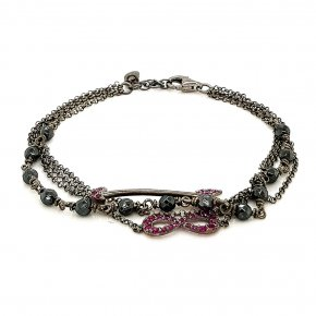 Bracelet silver 925 black rodium plated with red zirconia and hematite - Color Me