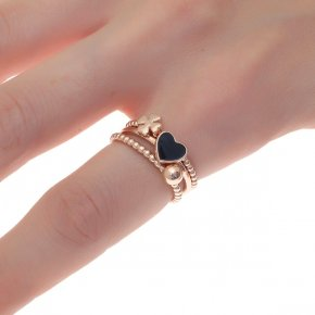 Ring silver 925 pink gold plated with enamel - Simply Me