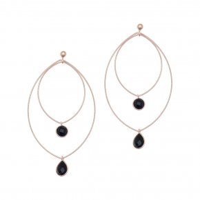 Earrings silver 925 pink gold plated & with onyx - Color Me