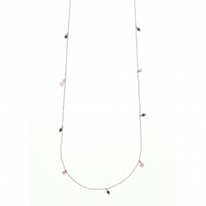 Necklace silver 925 pink gold plated with white zirconia and hematite - Simply Me